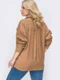 Свободная рубашка батал из вельвета бежевая 49826, фото 2