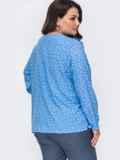 Голубая блузка в мелкий горох большого размера 49814, фото 2