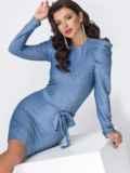 Платье-миди с люрексом и буфами на рукавах голубое 51974, фото 3