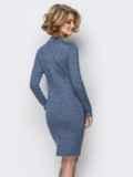 Вязанное платье с воротником-стойкой серое 13779, фото 2
