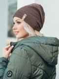 Зимняя шапка на флисе коричневого цвета 50121, фото 2