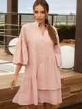 Свободное платье из прошвы с воротником-стойкой розовое 54162, фото 2