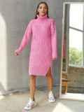 Вязаное платье с воротником и разрезами по бокам розовое 54944, фото 2