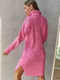 Вязаное платье с воротником и разрезами по бокам розовое 54944, фото 3