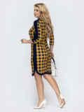 Приталенное платье большого размера в клетку желтое 55616, фото 2
