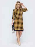 Приталенное платье большого размера в клетку желтое 55616, фото 1