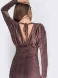Платье-мини с люрексом и драпированым лифом коричневое 43019, фото 5