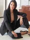 Классический брючный костюм с пиджаком черный 54976, фото 3