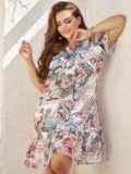Платье-трапеция батал с принтом и воланом по низу белое 54455, фото 1