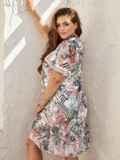Платье-трапеция батал с принтом и воланом по низу белое 54455, фото 3