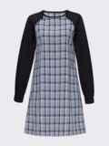 Платье-трапеция из костюмки с трикотажными рукавами-реглан синее 51360, фото 4
