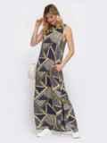 Принтованное платье-макси из штапеля с высокими разрезами по бокам 48039, фото 2