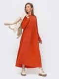Платье в пол с завышенной талией терракотовое 52356, фото 2