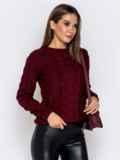 Бордовый свитер с ажурной вязкой 41073, фото 2