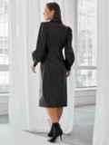 Чёрное платье-рубашка из искусственной кожи 49929, фото 3
