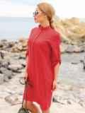 Красное льняное платье-рубашка прямого кроя с пуговицами 49737, фото 2