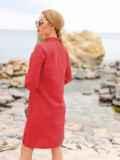 Красное льняное платье-рубашка прямого кроя с пуговицами 49737, фото 3