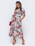 Расклешенное платье с принтом и напуском по талии серое 46871, фото 2