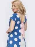 Голубое платье батал в горох с вырезом по спинке 46366, фото 2