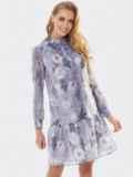 Платье с цветочным принтом и воланом по низу сиреневое 53659, фото 3