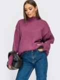 Фиолетовый свитер свободного кроя с воротником 55107, фото 2