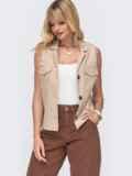 Льняная блузка бежевого цвета с накладными карманами 49109, фото 2