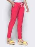 Розовые брюки из бенгалина с эластичной деталью в поясе 32885, фото 2