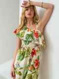 Платье с принтом и открытым плечом желтое 46868, фото 2