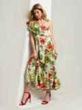 Платье с принтом и открытым плечом желтое 46868, фото 3