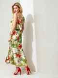 Платье с принтом и открытым плечом желтое 46868, фото 4