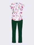 Зеленый брючный костюм с принтованной блузкой белого цвета 54838, фото 5