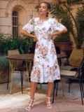 Белое платье-трапеция с принтом и рукавами из шифона 54155, фото 2