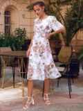 Белое платье-трапеция с принтом и рукавами из шифона 54155, фото 3