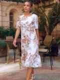 Белое платье-трапеция с принтом и рукавами из шифона 54155, фото 4