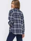Темно-синяя рубашка в клетку 54642, фото 4