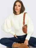 Белый джемпер с объемными рукавами и приталенной талией 54950, фото 1