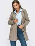 Пиджак из смесовой шерсти с накладными карманами коричневый 55140, фото 3