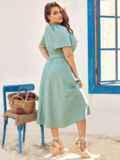 Платье батал с коротким рукавом и расклешенной юбкой бирюзовое 54453, фото 3