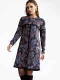 Платье-трапеция из полированной ангоры с принтом черное 52844, фото 2