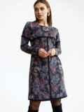Платье-трапеция из полированной ангоры с принтом черное 52844, фото 3