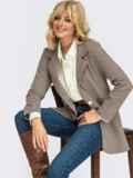 Трикотажный пиджак в клетку с клапанами по полочке коричневый 55138, фото 1