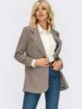 Трикотажный пиджак в клетку с клапанами по полочке коричневый 55138, фото 2