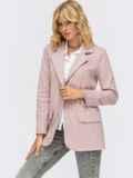 Трикотажный пиджак в клетку с клапанами по полочке розовый 55136, фото 3