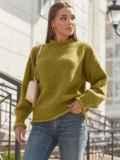 Желтый свитер с закругленной горловиной 54952, фото 1