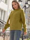 Желтый свитер с закругленной горловиной 54952, фото 3