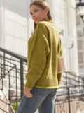 Желтый свитер с закругленной горловиной 54952, фото 4