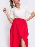 Красная юбка на запах с удлиненной спинкой 48147, фото 2