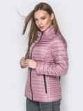 Розовая куртка с воротником-стойкой и карманами 20289, фото 2