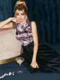 Атласное платье с расклешенной юбкой черное 51789, фото 4