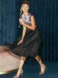 Атласное платье с расклешенной юбкой черное 51789, фото 6